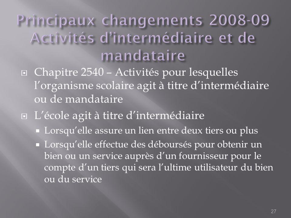 Chapitre 2540 – Activités pour lesquelles lorganisme scolaire agit à titre dintermédiaire ou de mandataire Lécole agit à titre dintermédiaire Lorsquel