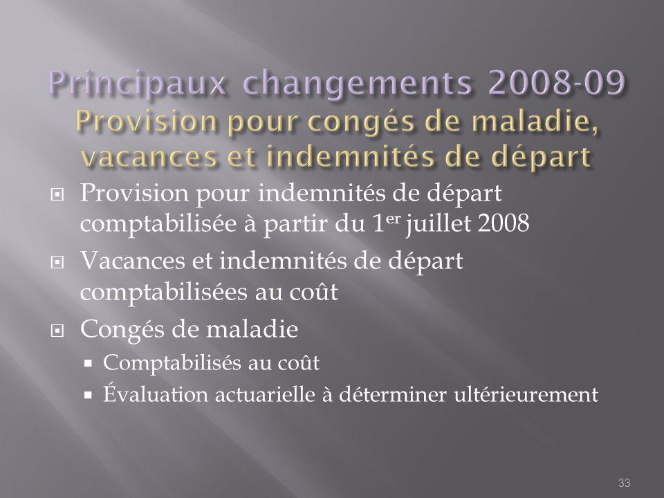 Provision pour indemnités de départ comptabilisée à partir du 1 er juillet 2008 Vacances et indemnités de départ comptabilisées au coût Congés de mala