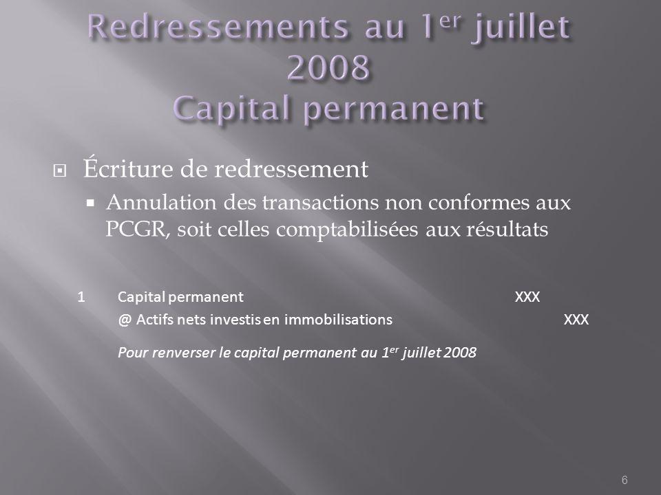 Écriture de redressement Annulation des transactions non conformes aux PCGR, soit celles comptabilisées aux résultats 6 1Capital permanentXXX @ Actifs