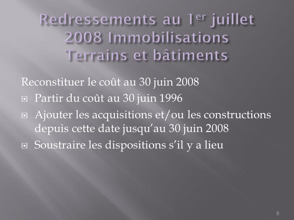 Reconstituer le coût au 30 juin 2008 Partir du coût au 30 juin 1996 Ajouter les acquisitions et/ou les constructions depuis cette date jusquau 30 juin
