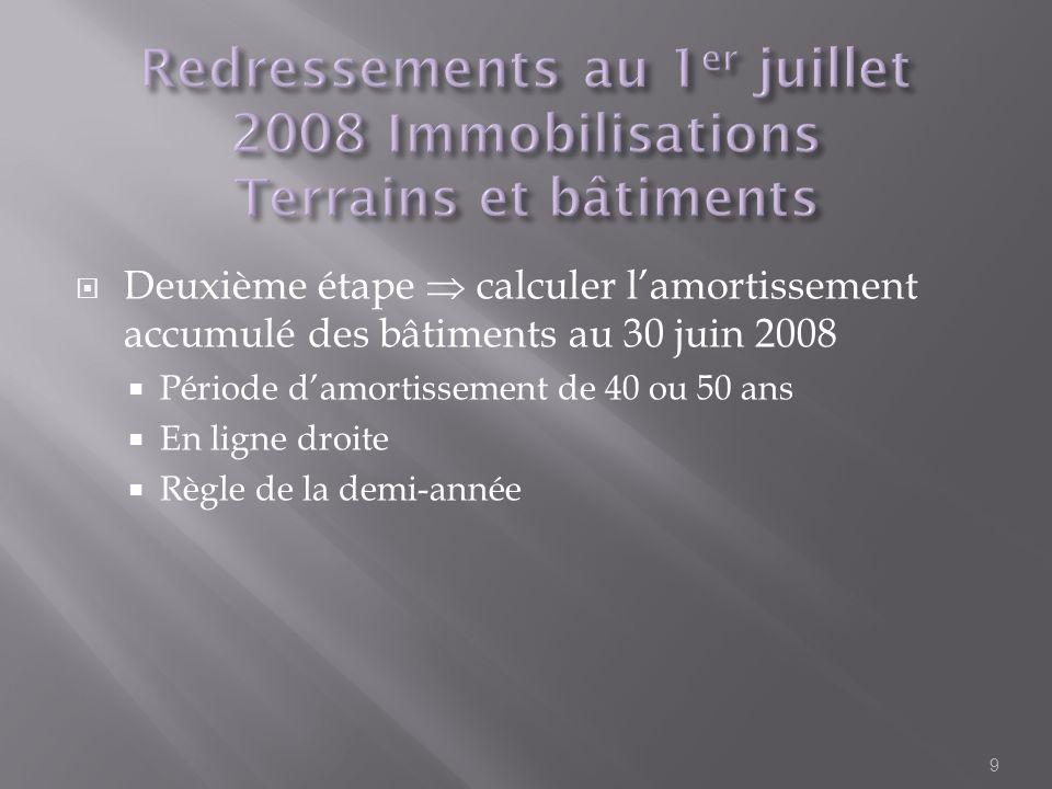 Deuxième étape calculer lamortissement accumulé des bâtiments au 30 juin 2008 Période damortissement de 40 ou 50 ans En ligne droite Règle de la demi-