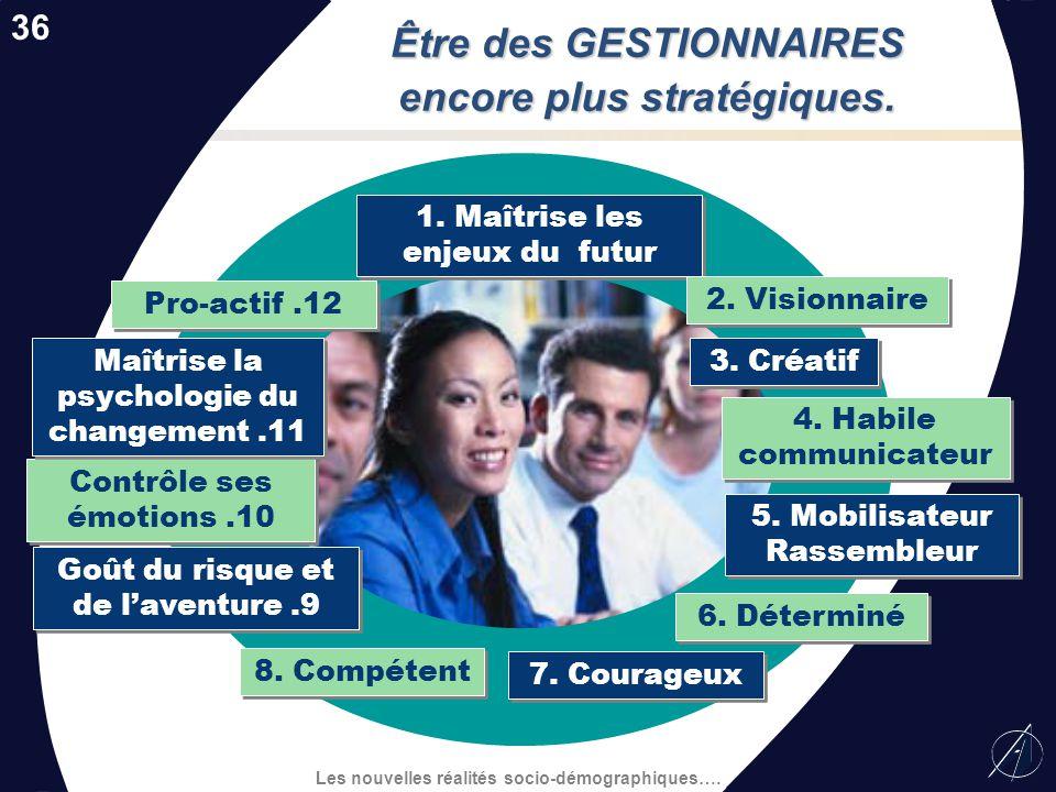 Les nouvelles réalités socio-démographiques…. 3. Capacité dadaptation 5. Travail déquipe et coopération 7. Initiateur et persévérant 1. Sens des respo