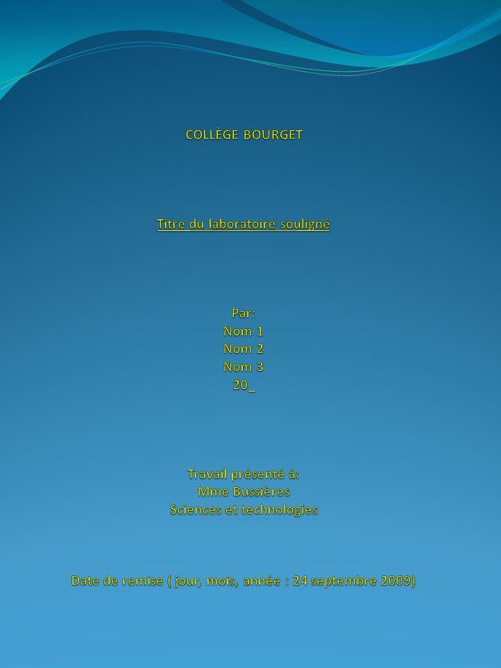 But: (titres de section souligné et en gras) Ce que lon recherche Parfois sous forme de question (Au début, vous pourrez copier le but mot pour mot…) (ex: Quelle est la substance blanche contenue dans le bécher?) Hypothèse: Répond à la question du but, mais ce fait avant davoir fait la recherche.