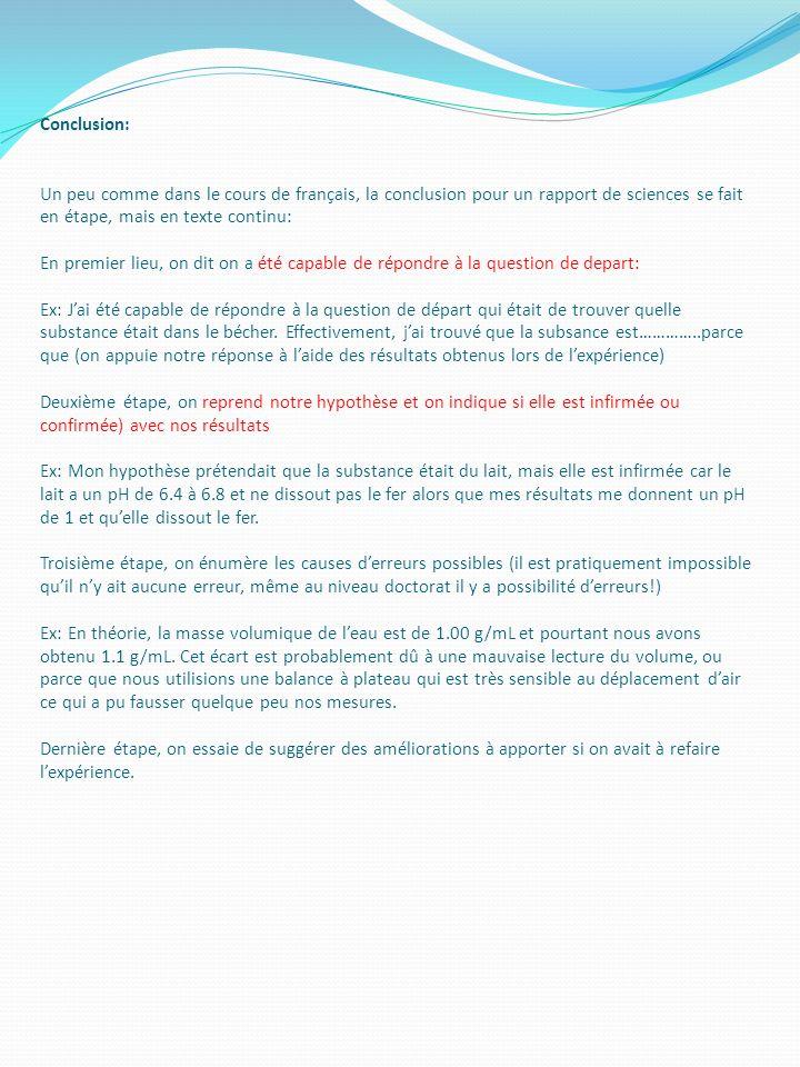 Conclusion: Un peu comme dans le cours de français, la conclusion pour un rapport de sciences se fait en étape, mais en texte continu: En premier lieu
