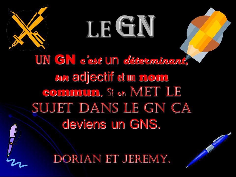 Le GN Un GN cest un déterminant, un adjectif et un nom commun.