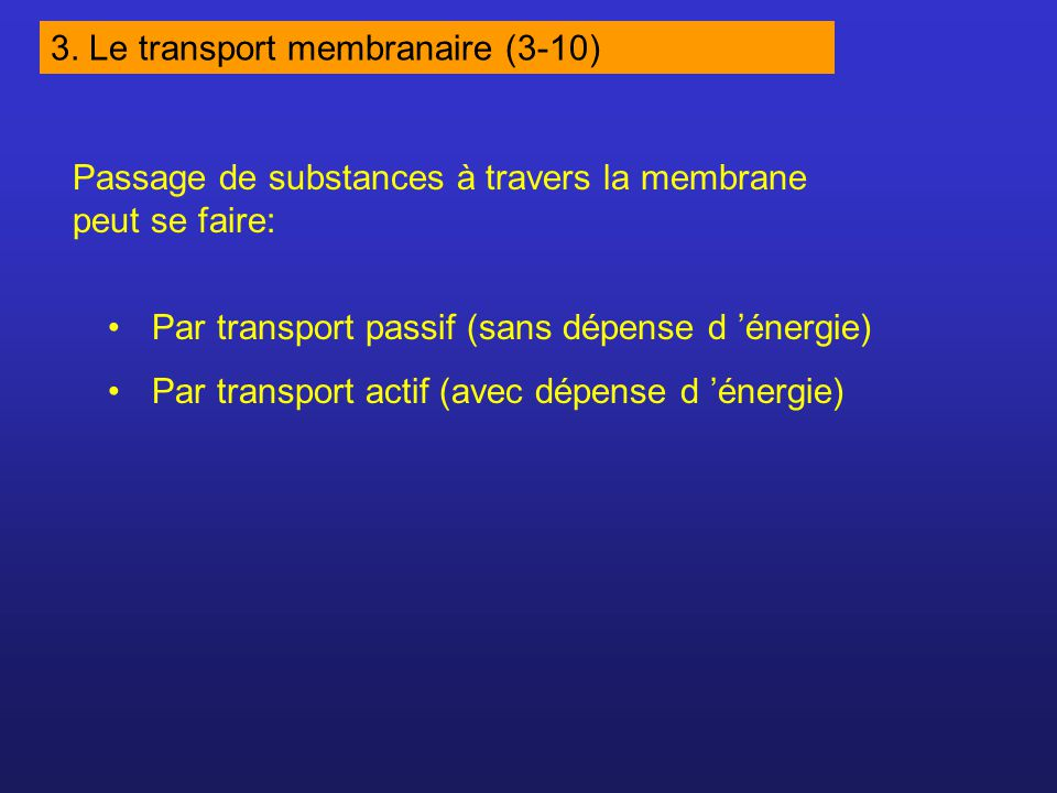 Passage de substances à travers la membrane peut se faire: Par transport passif (sans dépense d énergie) Par transport actif (avec dépense d énergie) 3.