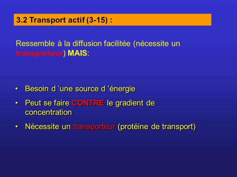 3.2 Transport actif (3-15) : Besoin d une source d énergie Peut se faire CONTRE le gradient de concentration Nécessite un transporteur (protéine de transport) Besoin d une source d énergie Peut se faire CONTRE le gradient de concentration Nécessite un transporteur (protéine de transport) Ressemble à la diffusion facilitée (nécessite un transporteur) MAIS: