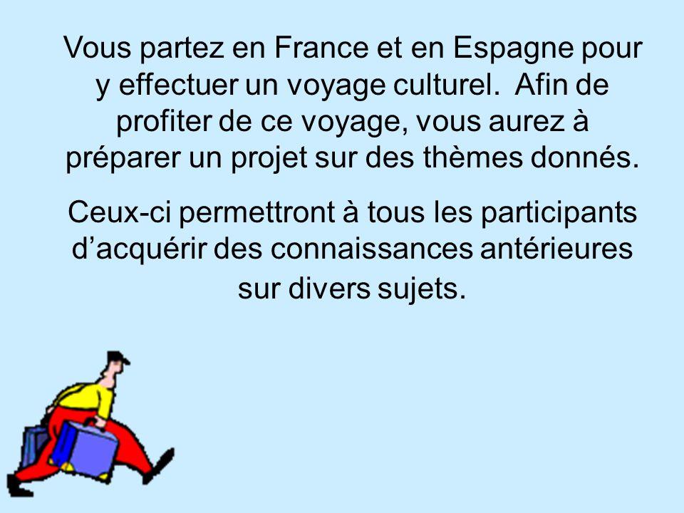 Vous partez en France et en Espagne pour y effectuer un voyage culturel.