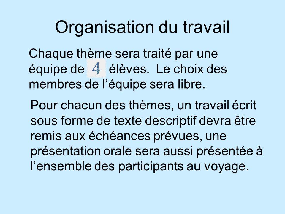 Organisation du travail Pour chacun des thèmes, un travail écrit sous forme de texte descriptif devra être remis aux échéances prévues, une présentation orale sera aussi présentée à lensemble des participants au voyage.