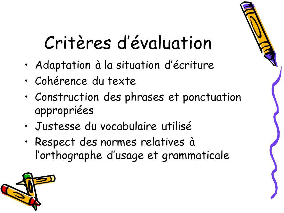Critères dévaluation Adaptation à la situation décriture Cohérence du texte Construction des phrases et ponctuation appropriées Justesse du vocabulair