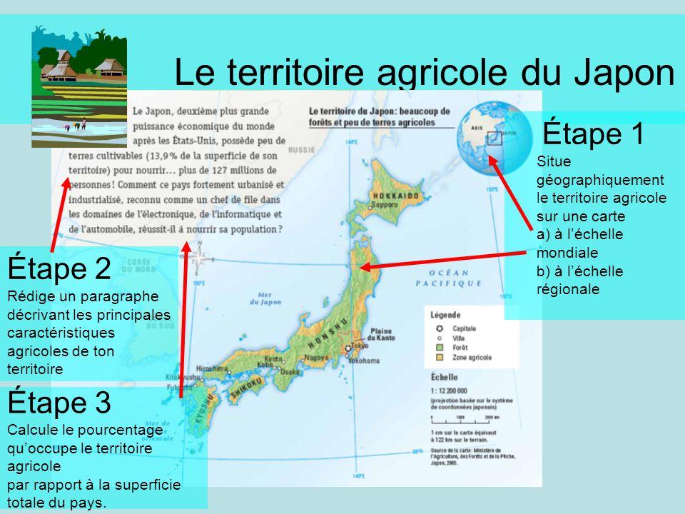 Le territoire agricole du Japon Étape 1 Situe géographiquement le territoire agricole sur une carte a) à léchelle mondiale b) à léchelle régionale Éta