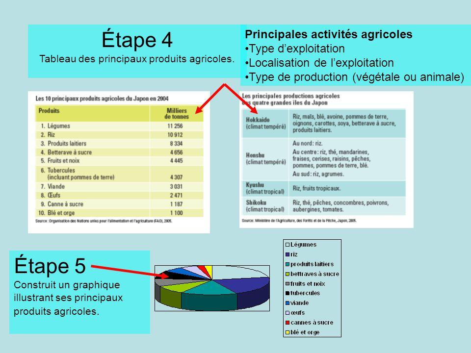 Étape 4 Tableau des principaux produits agricoles. Étape 5 Construit un graphique illustrant ses principaux produits agricoles. Principales activités
