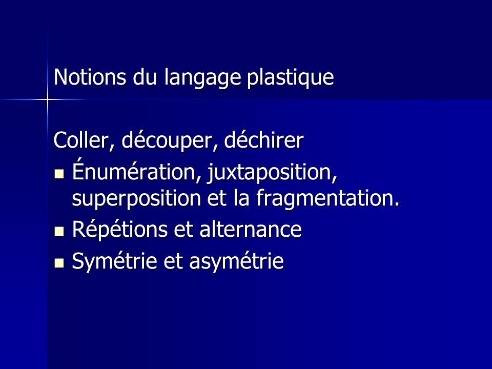 Notions du langage plastique Coller, découper, déchirer Énumération, juxtaposition, superposition et la fragmentation.