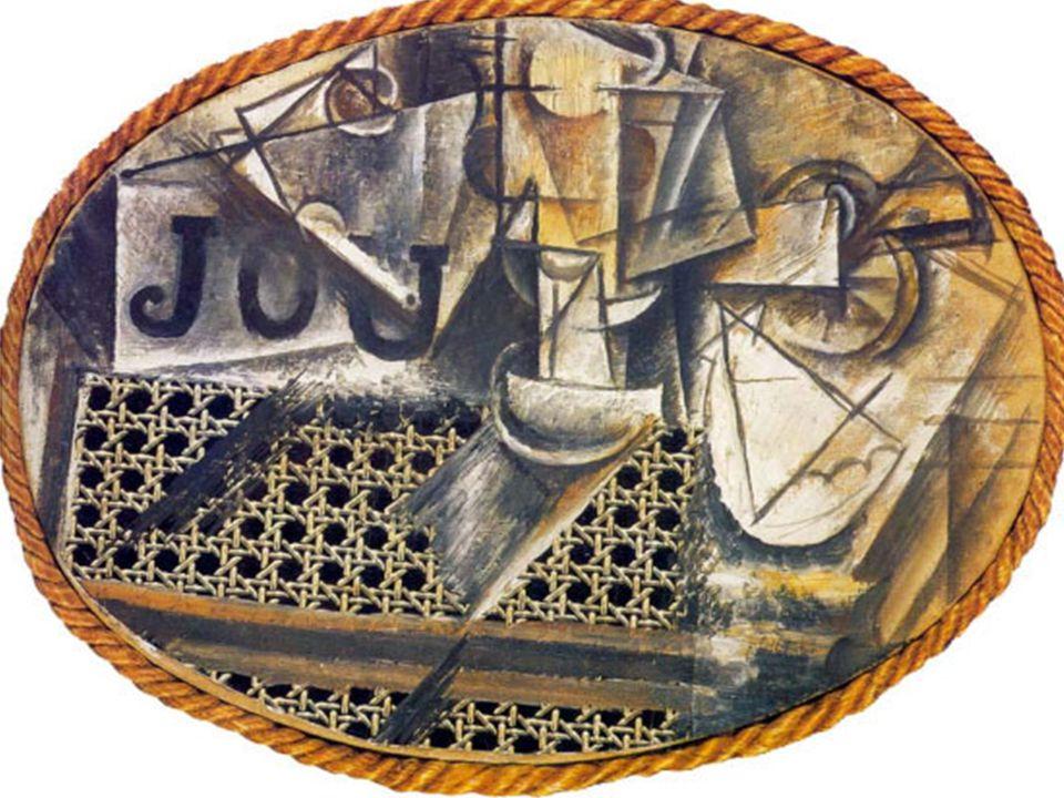 Avec sa révolutionnaire Nature morte à la chaise cannée, Picasso introduit dans le tableau un bout de toile cirée pour le cannage et une corde pour matérialiser lovale du cadre.