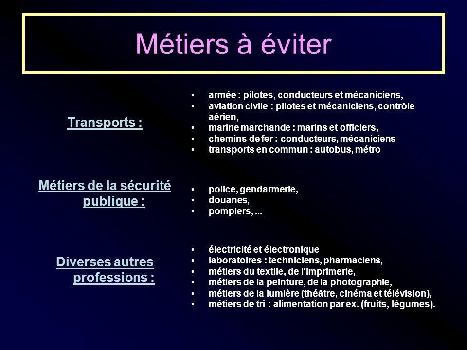Transports : armée : pilotes, conducteurs et mécaniciens, aviation civile : pilotes et mécaniciens, contrôle aérien, marine marchande : marins et offi