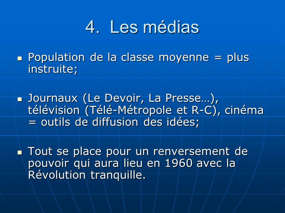 4. Les médias Population de la classe moyenne = plus instruite; Population de la classe moyenne = plus instruite; Journaux (Le Devoir, La Presse…), té