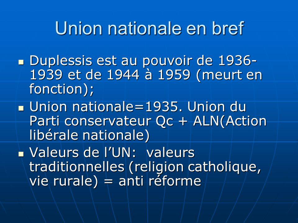 Union nationale en bref Duplessis est au pouvoir de 1936- 1939 et de 1944 à 1959 (meurt en fonction); Duplessis est au pouvoir de 1936- 1939 et de 1944 à 1959 (meurt en fonction); Union nationale=1935.