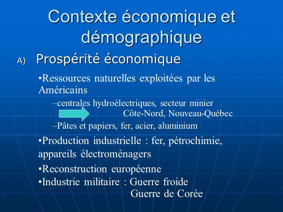 Contexte économique et démographique A) Prospérité économique Ressources naturelles exploitées par les Américains –centrales hydroélectriques, secteur