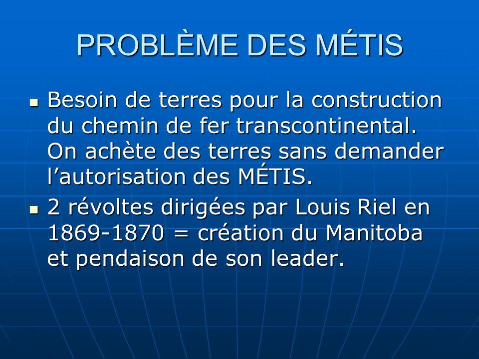 PROBLÈME DES MÉTIS Besoin de terres pour la construction du chemin de fer transcontinental.