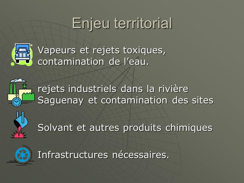 Enjeu territorial Vapeurs et rejets toxiques, contamination de leau. rejets industriels dans la rivière Saguenay et contamination des sites Solvant et