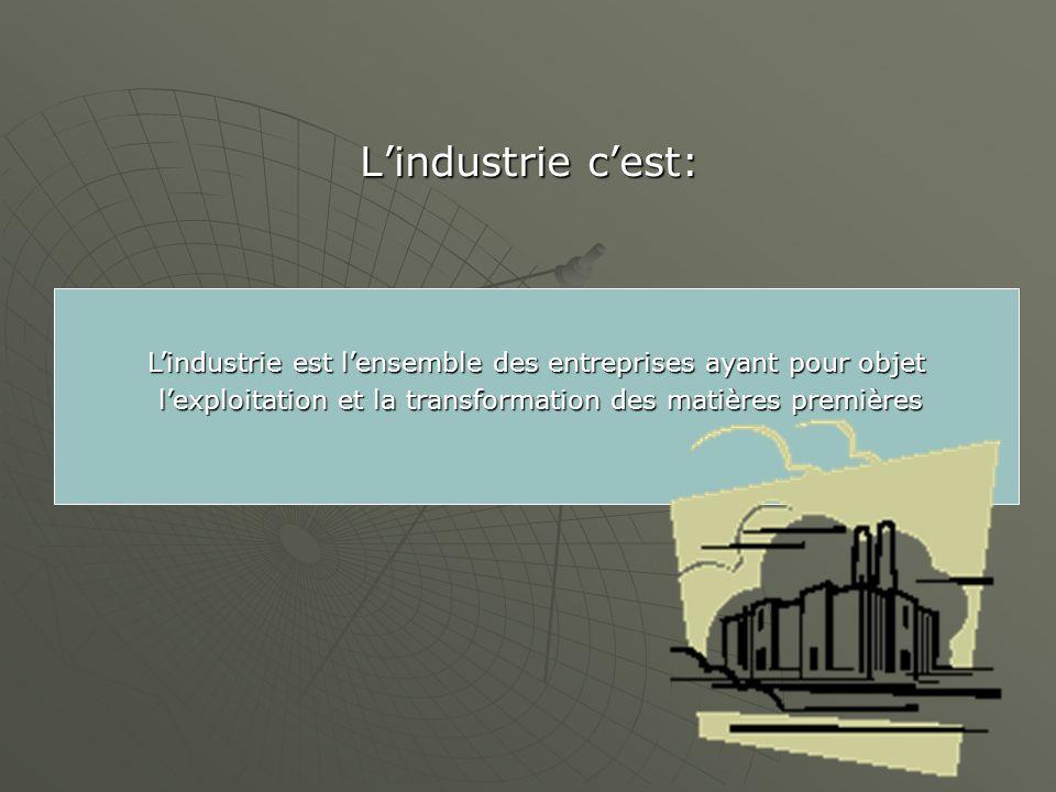 Lindustrie cest: Lindustrie est lensemble des entreprises ayant pour objet lexploitation et la transformation des matières premières lexploitation et la transformation des matières premières