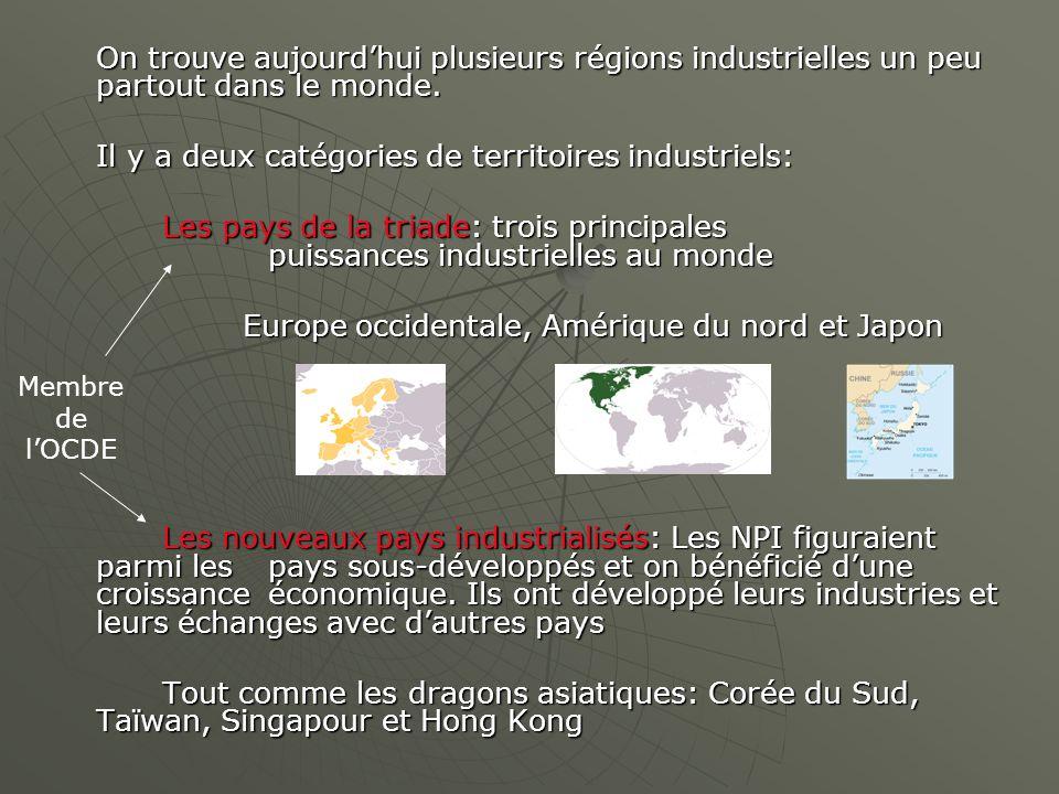 On trouve aujourdhui plusieurs régions industrielles un peu partout dans le monde. Il y a deux catégories de territoires industriels: Les pays de la t