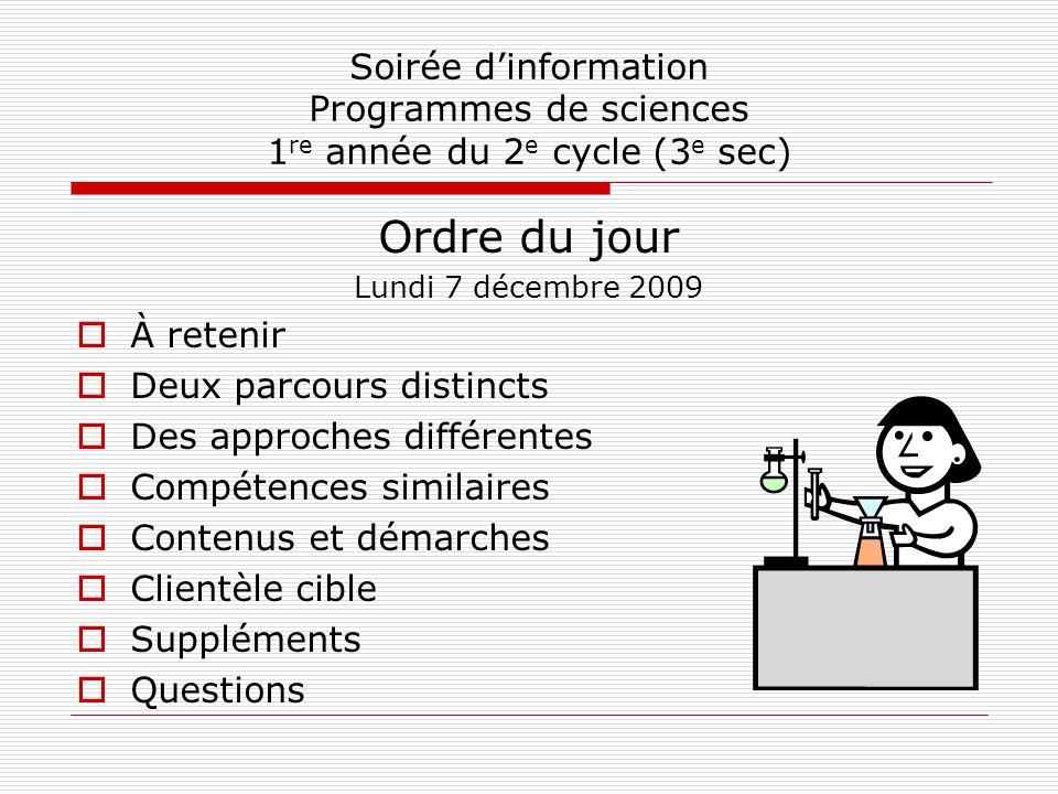 À retenir Au 2 e cycle du secondaire (3 e, 4 e et 5 e sec), les groupes délèves seront différents du 1 er cycle.