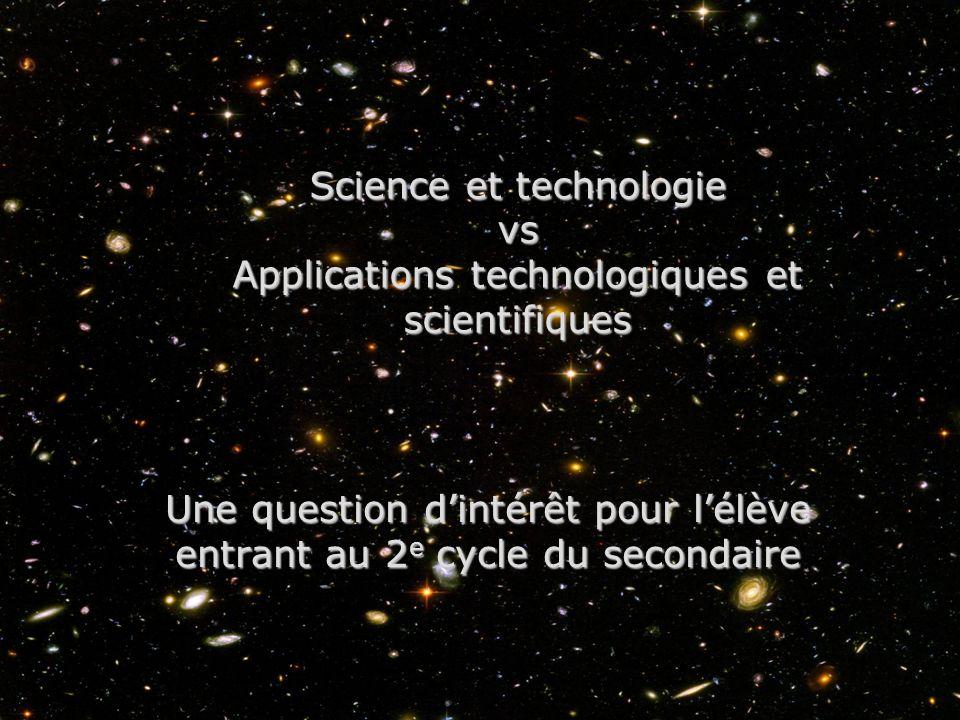 Science et technologie vs Applications technologiques et scientifiques Une question dintérêt pour lélève entrant au 2 e cycle du secondaire