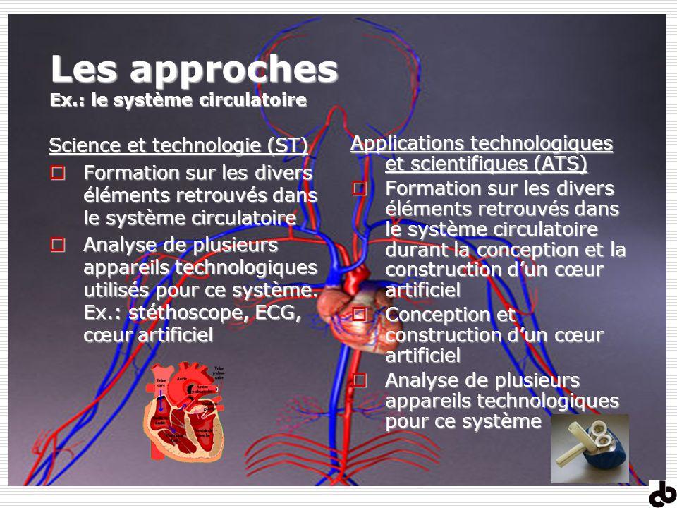 Les approches Ex.: le système circulatoire Science et technologie (ST) Formation sur les divers éléments retrouvés dans le système circulatoire Format