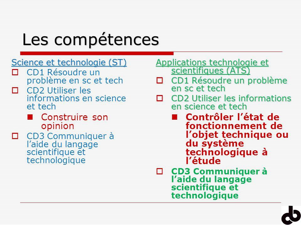 Les compétences Science et technologie (ST) CD1 Résoudre un problème en sc et tech CD2 Utiliser les informations en science et tech Construire son opi
