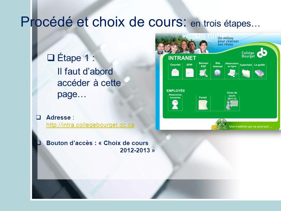 Procédé et choix de cours: en trois étapes… Étape 1 : Il faut dabord accéder à cette page… Adresse : http://intra.collegebourget.qc.ca http://intra.co