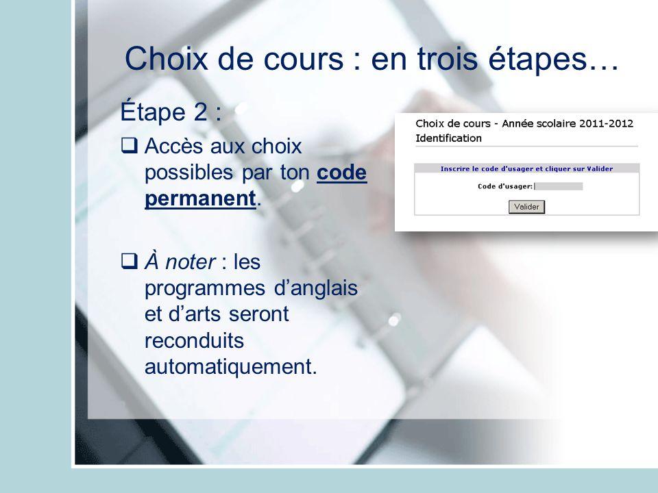 Choix de cours : en trois étapes… Étape 2 : Accès aux choix possibles par ton code permanent. À noter : les programmes danglais et darts seront recond