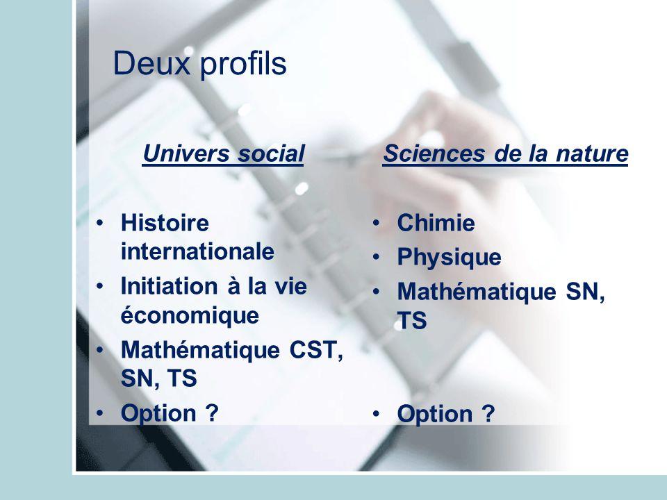 Deux profils Univers social Histoire internationale Initiation à la vie économique Mathématique CST, SN, TS Option ? Sciences de la nature Chimie Phys