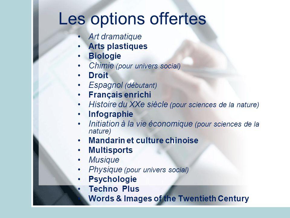 Les options offertes Art dramatique Arts plastiques Biologie Chimie (pour univers social) Droit Espagnol (débutant) Français enrichi Histoire du XXe s