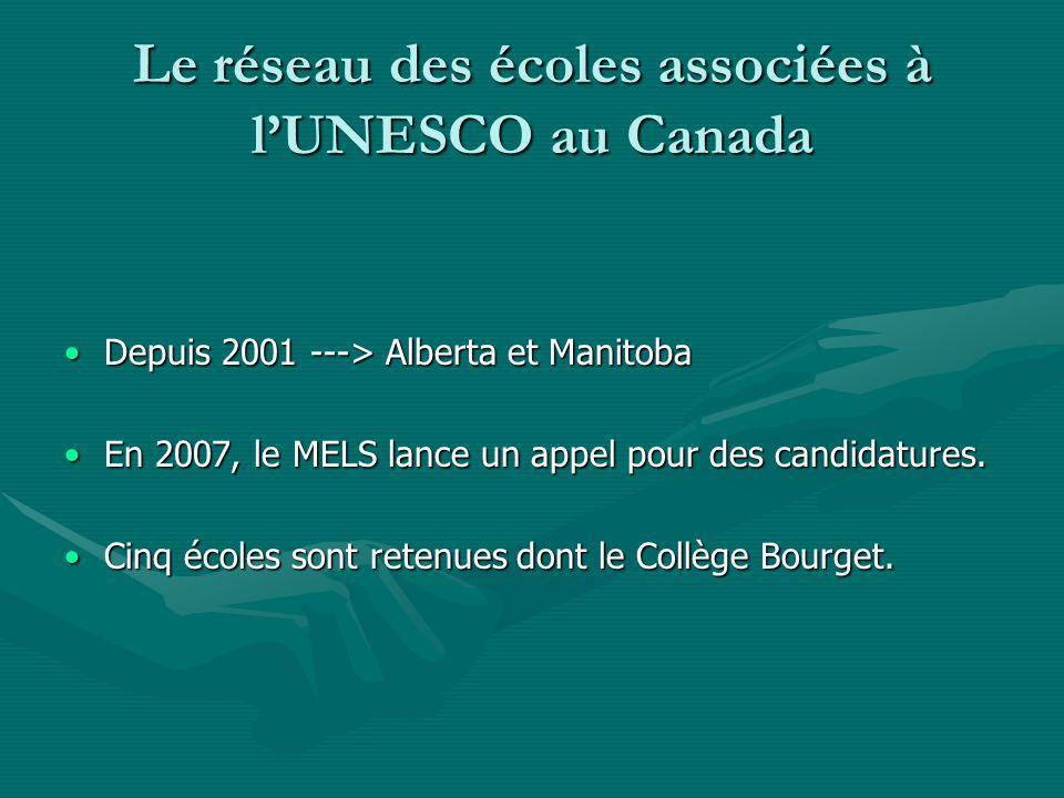 Le réseau des écoles associées à lUNESCO au Canada Depuis 2001 ---> Alberta et ManitobaDepuis 2001 ---> Alberta et Manitoba En 2007, le MELS lance u