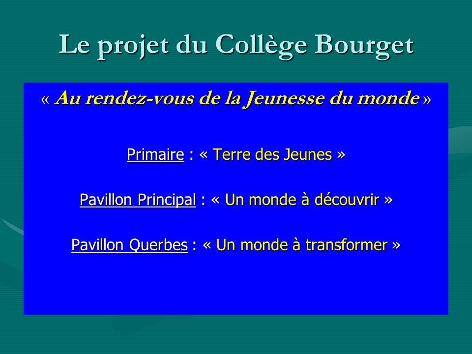 Le projet du Collège Bourget « Au rendez-vous de la Jeunesse du monde » Primaire : « Terre des Jeunes » Pavillon Principal : « Un monde à découvrir » Pavillon Querbes : « Un monde à transformer »