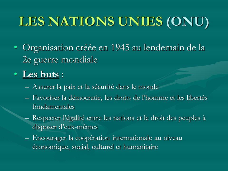 LES NATIONS UNIES (ONU) Organisation créée en 1945 au lendemain de la 2e guerre mondialeOrganisation créée en 1945 au lendemain de la 2e guerre mondia