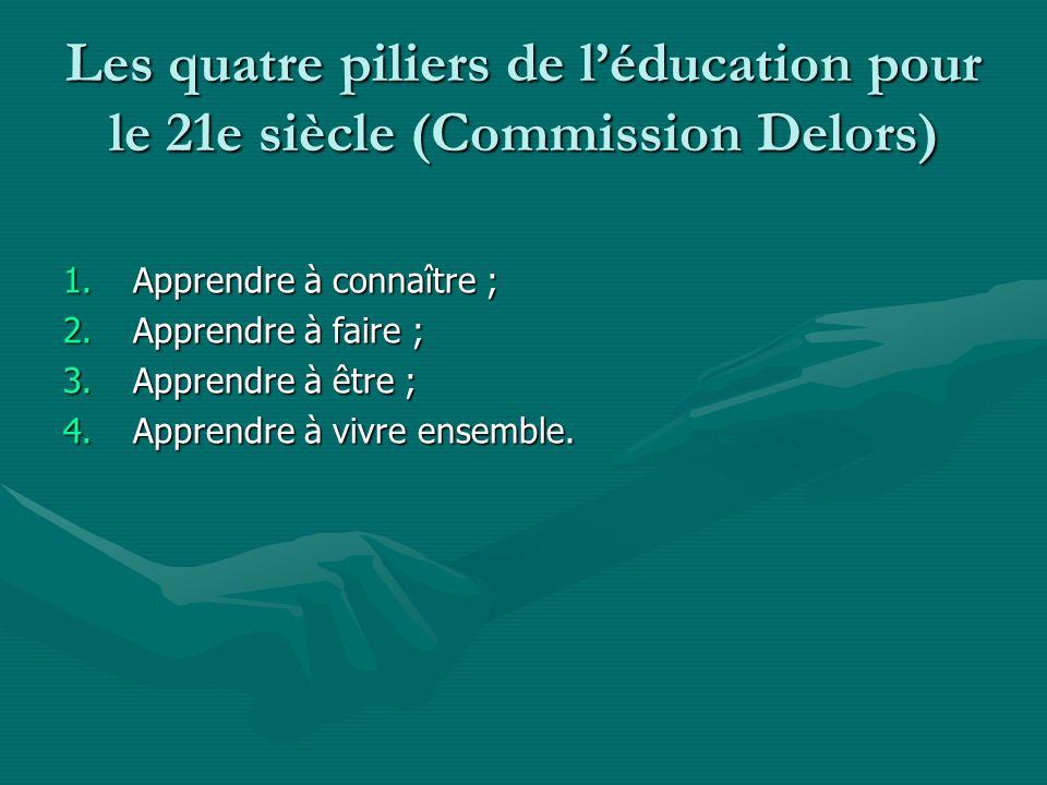Les quatre piliers de léducation pour le 21e siècle (Commission Delors) 1.Apprendre à connaître ; 2.Apprendre à faire ; 3.Apprendre à être ; 4.Apprendre à vivre ensemble.