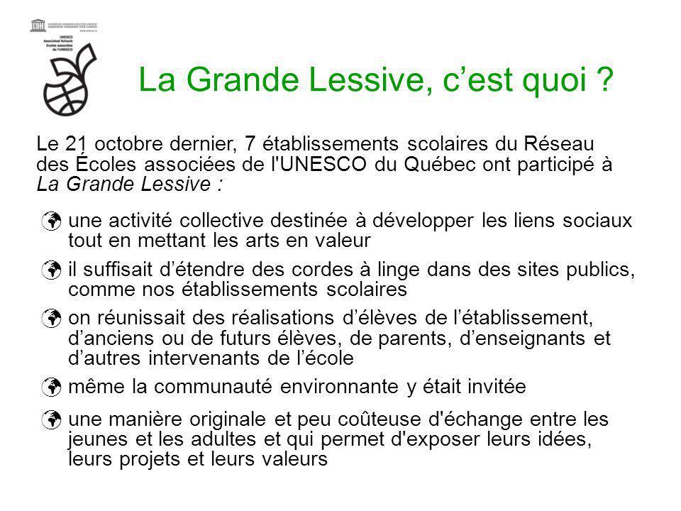 La Grande Lessive, cest quoi ? une activité collective destinée à développer les liens sociaux tout en mettant les arts en valeur il suffisait détendr