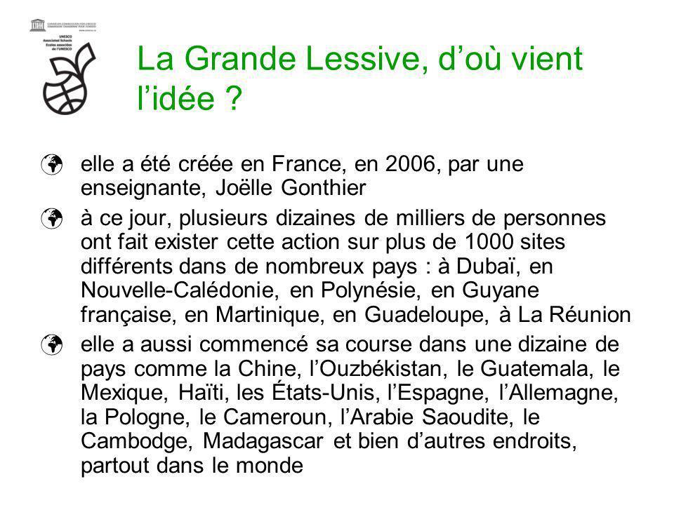 La Grande Lessive, doù vient lidée ? elle a été créée en France, en 2006, par une enseignante, Joëlle Gonthier à ce jour, plusieurs dizaines de millie