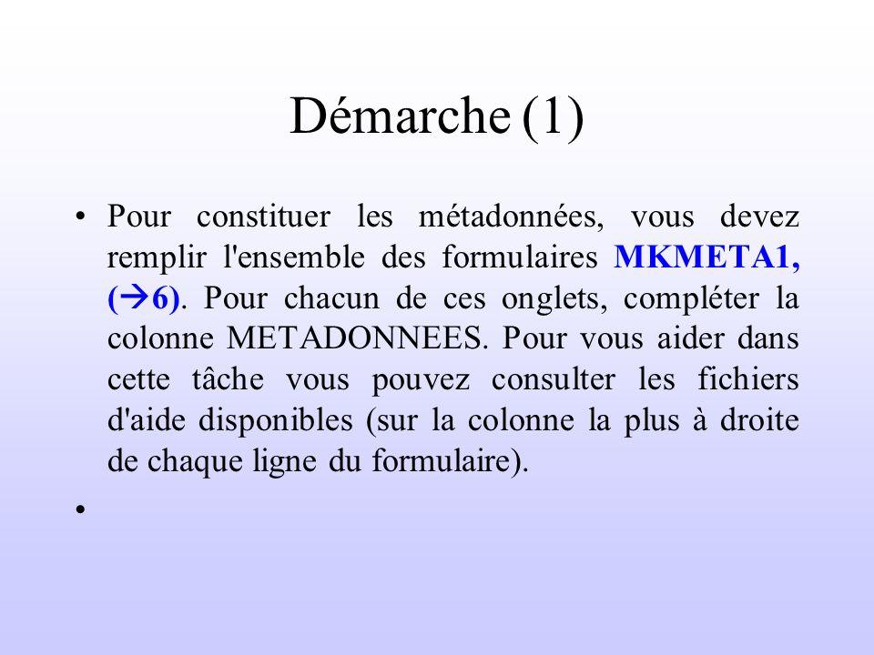 Démarche (1) Pour constituer les métadonnées, vous devez remplir l'ensemble des formulaires MKMETA1, ( 6). Pour chacun de ces onglets, compléter la co