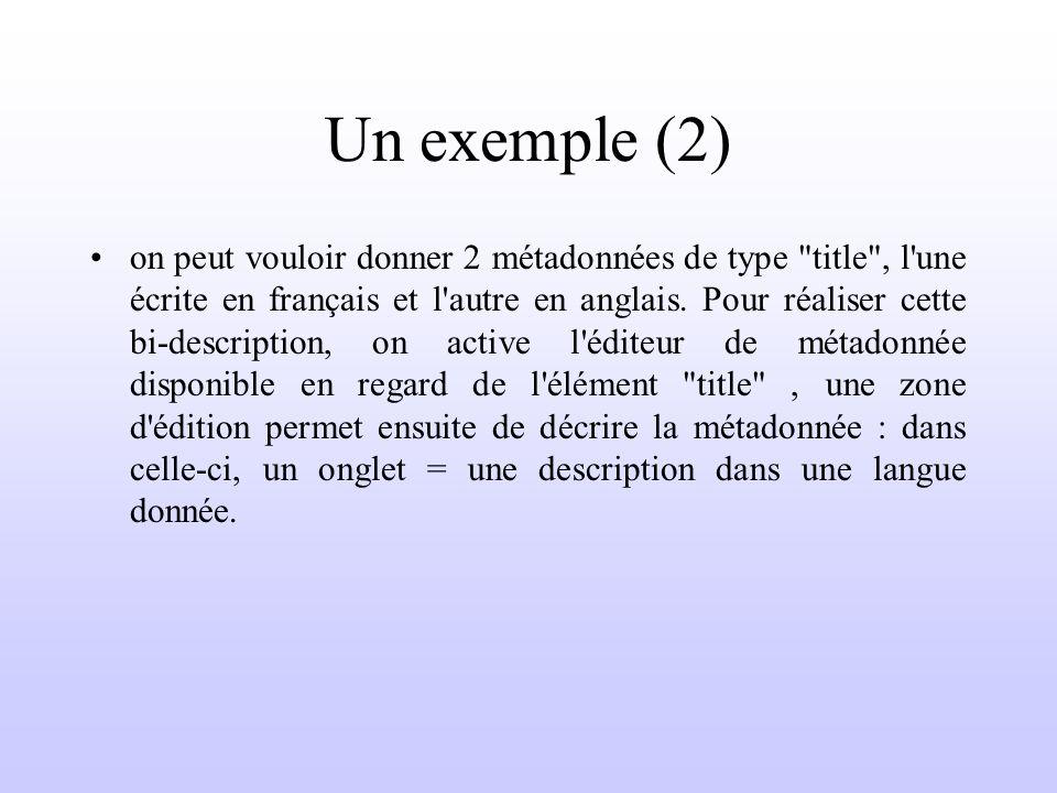Un exemple (2) on peut vouloir donner 2 métadonnées de type title , l une écrite en français et l autre en anglais.