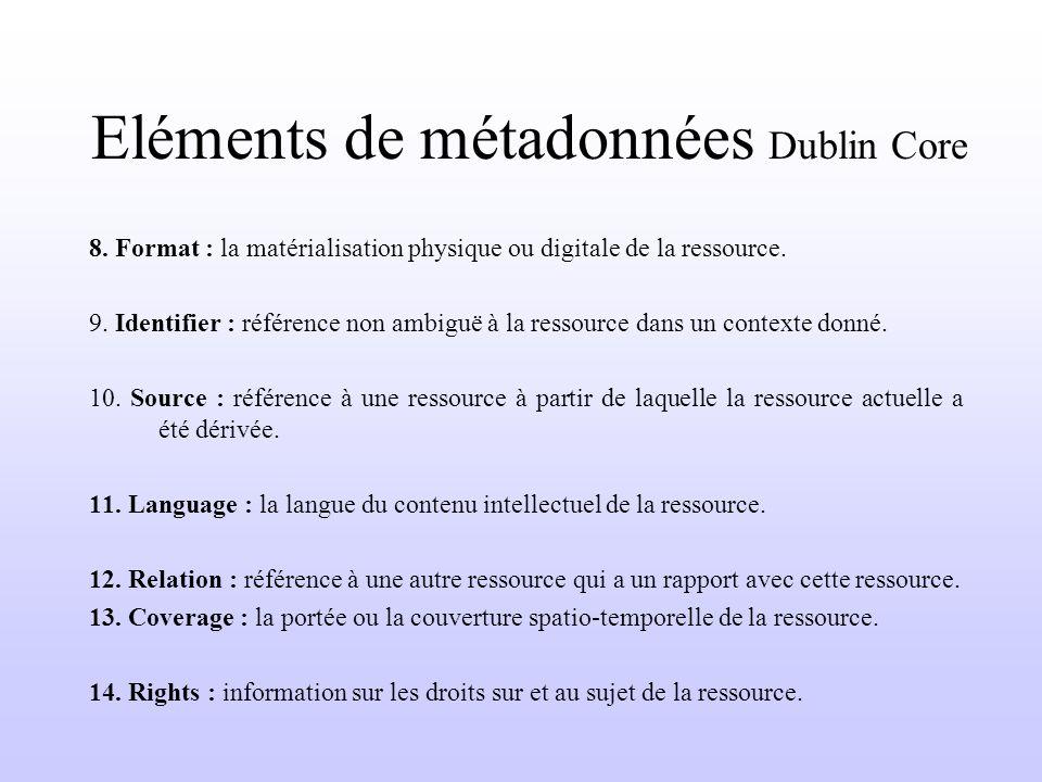 Eléments de métadonnées Dublin Core 8. Format : la matérialisation physique ou digitale de la ressource. 9. Identifier : référence non ambiguë à la re