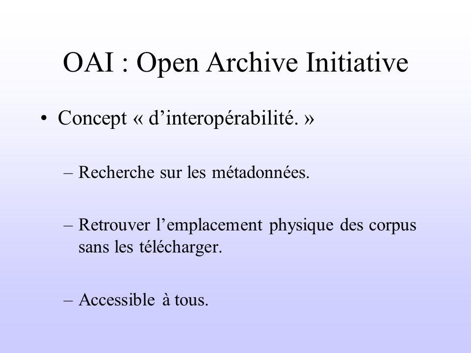 OAI : Open Archive Initiative Concept « dinteropérabilité.