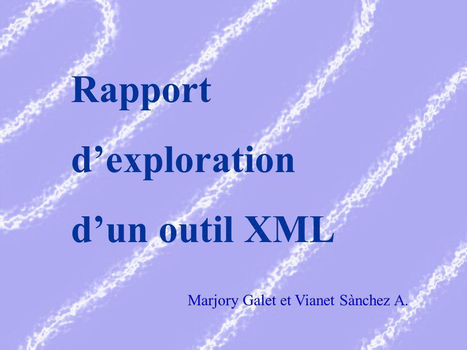 Rapport dexploration dun outil XML Marjory Galet et Vianet Sànchez A.