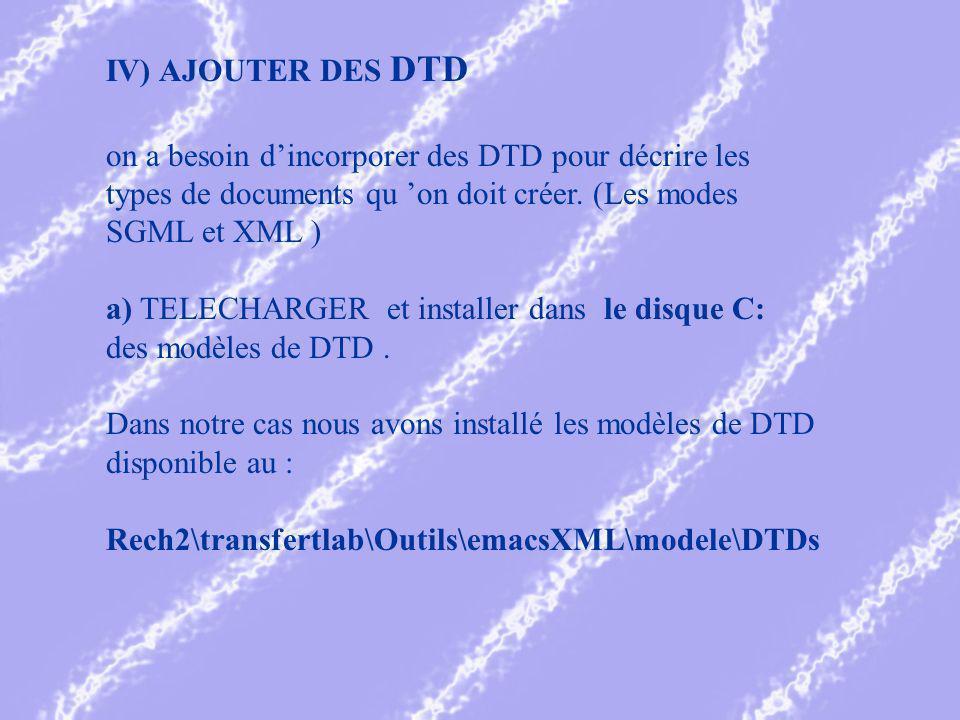 IV) AJOUTER DES DTD on a besoin dincorporer des DTD pour décrire les types de documents qu on doit créer.