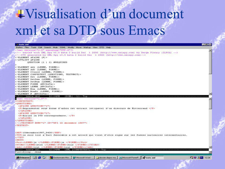 Visualisation dun document xml et sa DTD sous Emacs