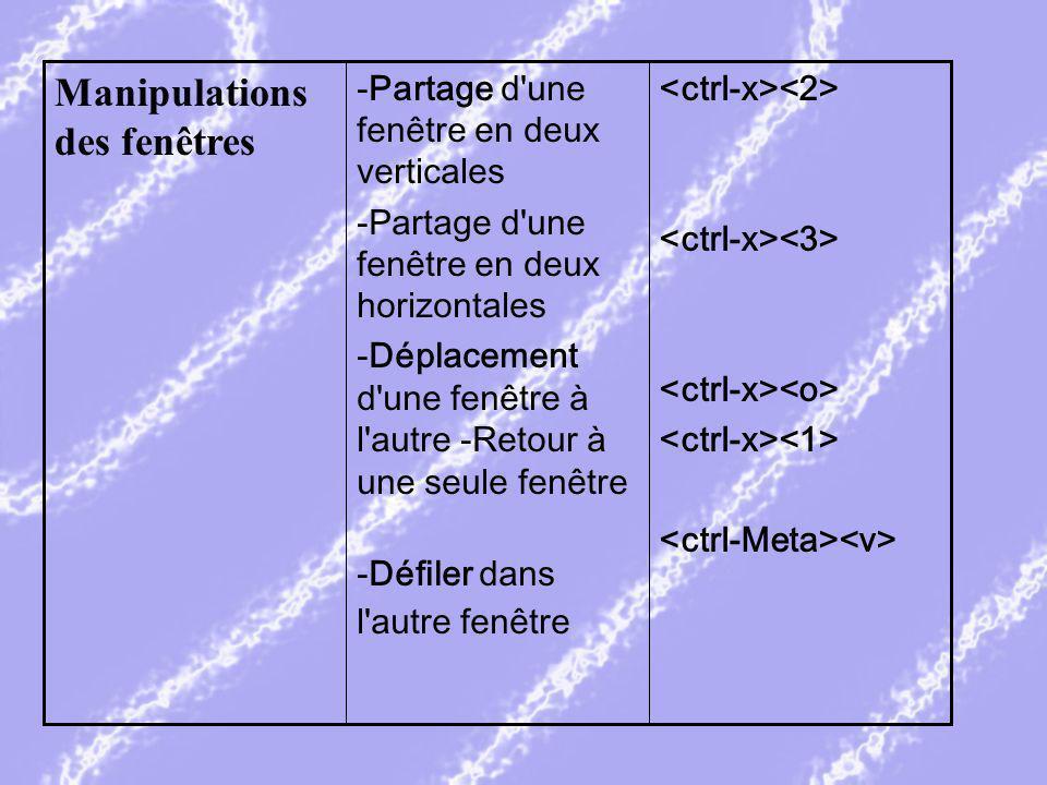 -Partage d une fenêtre en deux verticales -Partage d une fenêtre en deux horizontales -Déplacement d une fenêtre à l autre -Retour à une seule fenêtre -Défiler dans l autre fenêtre Manipulations des fenêtres