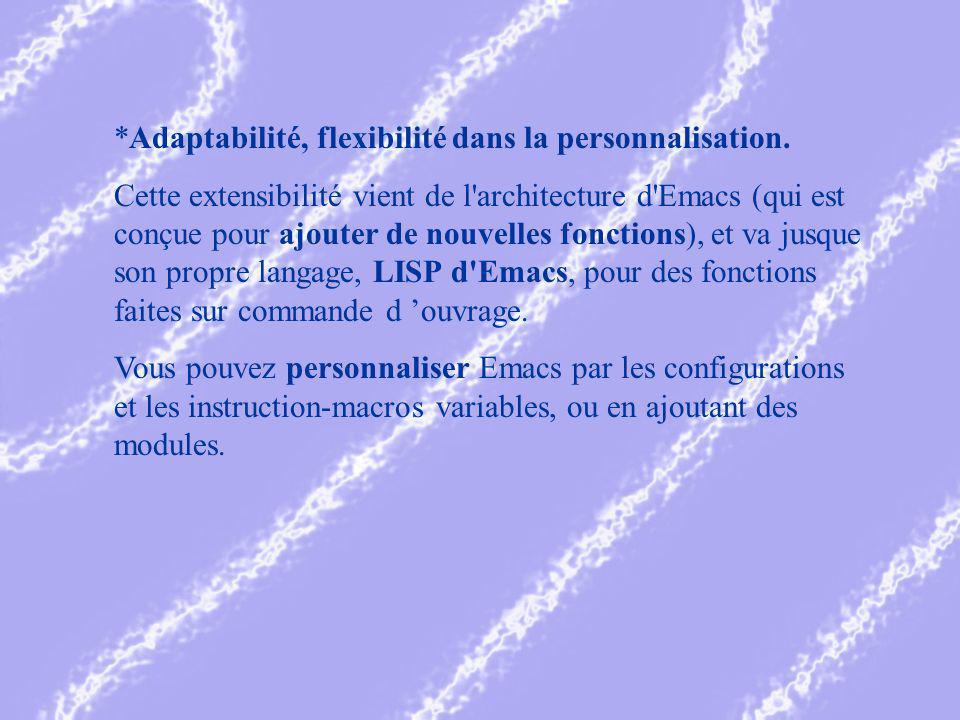 *Adaptabilité, flexibilité dans la personnalisation.