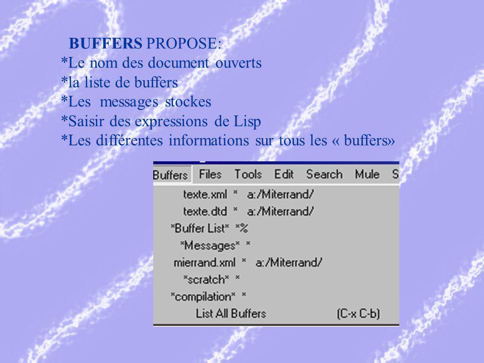 BUFFERS PROPOSE: *Le nom des document ouverts *la liste de buffers *Les messages stockes *Saisir des expressions de Lisp *Les différentes informations sur tous les « buffers»